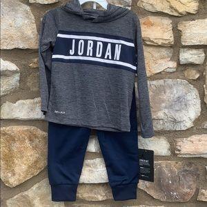 Air Jordan 2 piece shirt & pants blue gray 24 mo